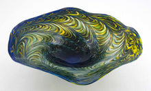 Load image into Gallery viewer, Dark Blue and Topaz Fluted Bowl