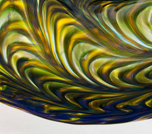 Dark Blue and Topaz Fluted Bowl