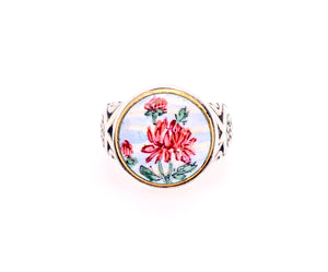 Ginger Flower Button Ring