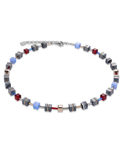 Hematite Necklace with Blue and Red Accents