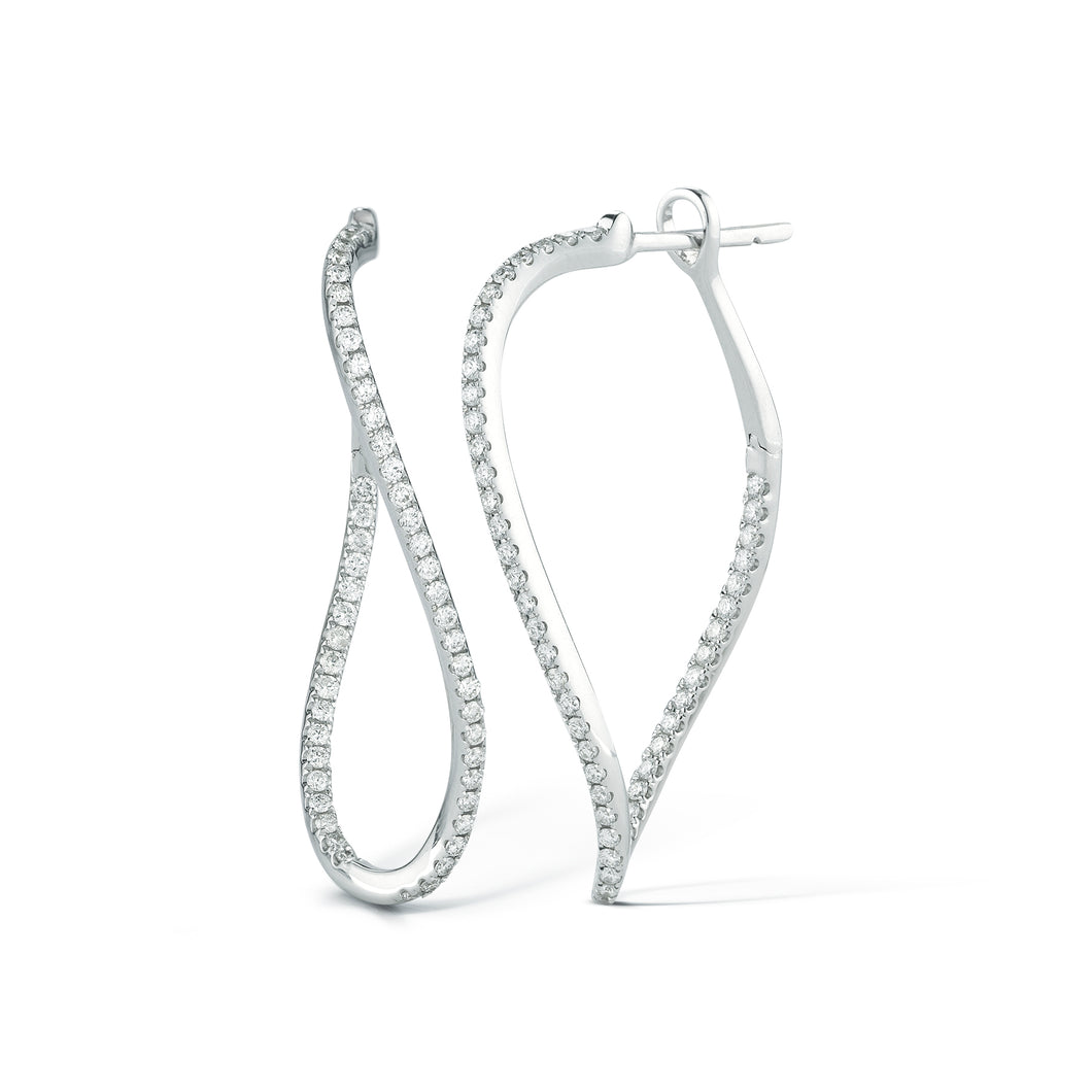 Scribble Pave Waterfall Hoops