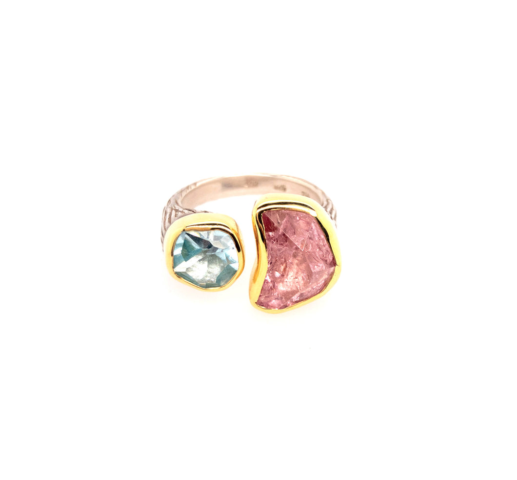 Aquamarine and Pink Tourmaline Ring