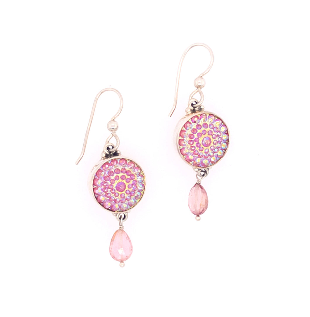 Pink Luster Glass Earrings