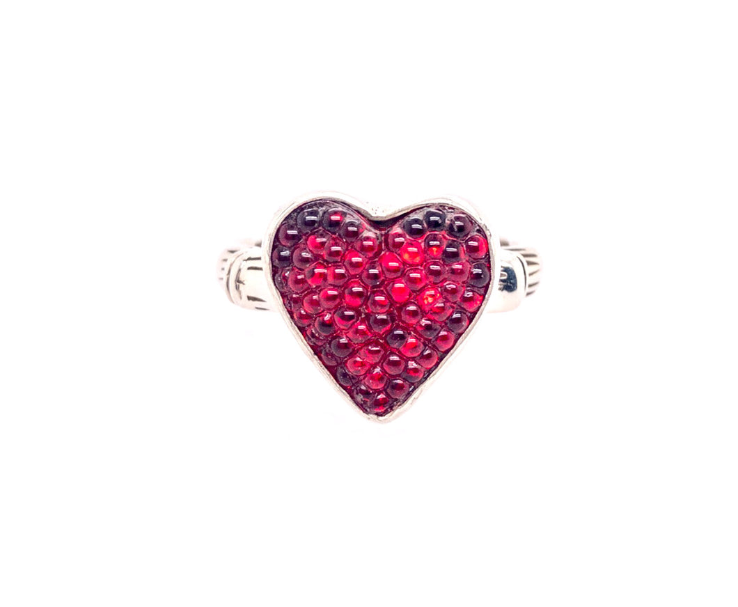 Glass Heart Button Ring