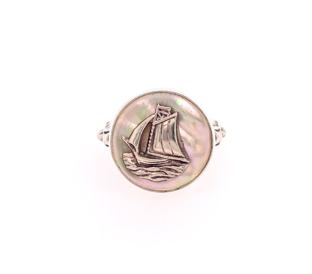Sailboat Button Ring