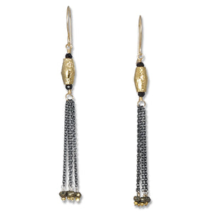 Spinel and Gold Tassel Earrings