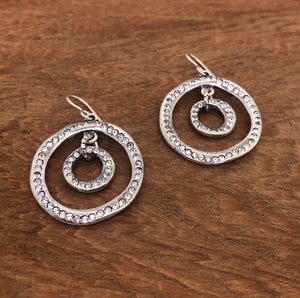 Aurora Earrings in Silver & All Crystal