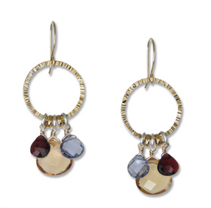 Triple Stone Hammered Gold Earrings