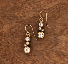 Load image into Gallery viewer, Gold Cassie Earrings in All Crystal