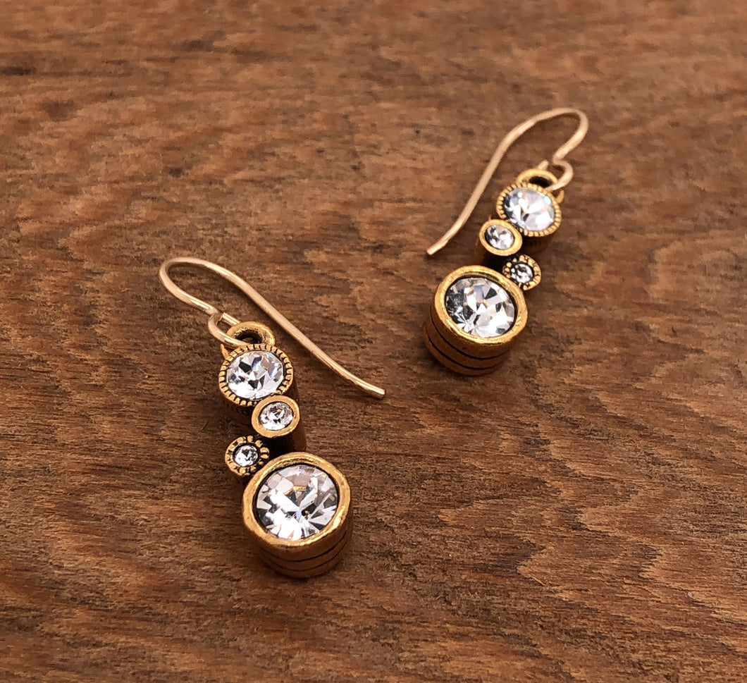 Gold Cassie Earrings in All Crystal