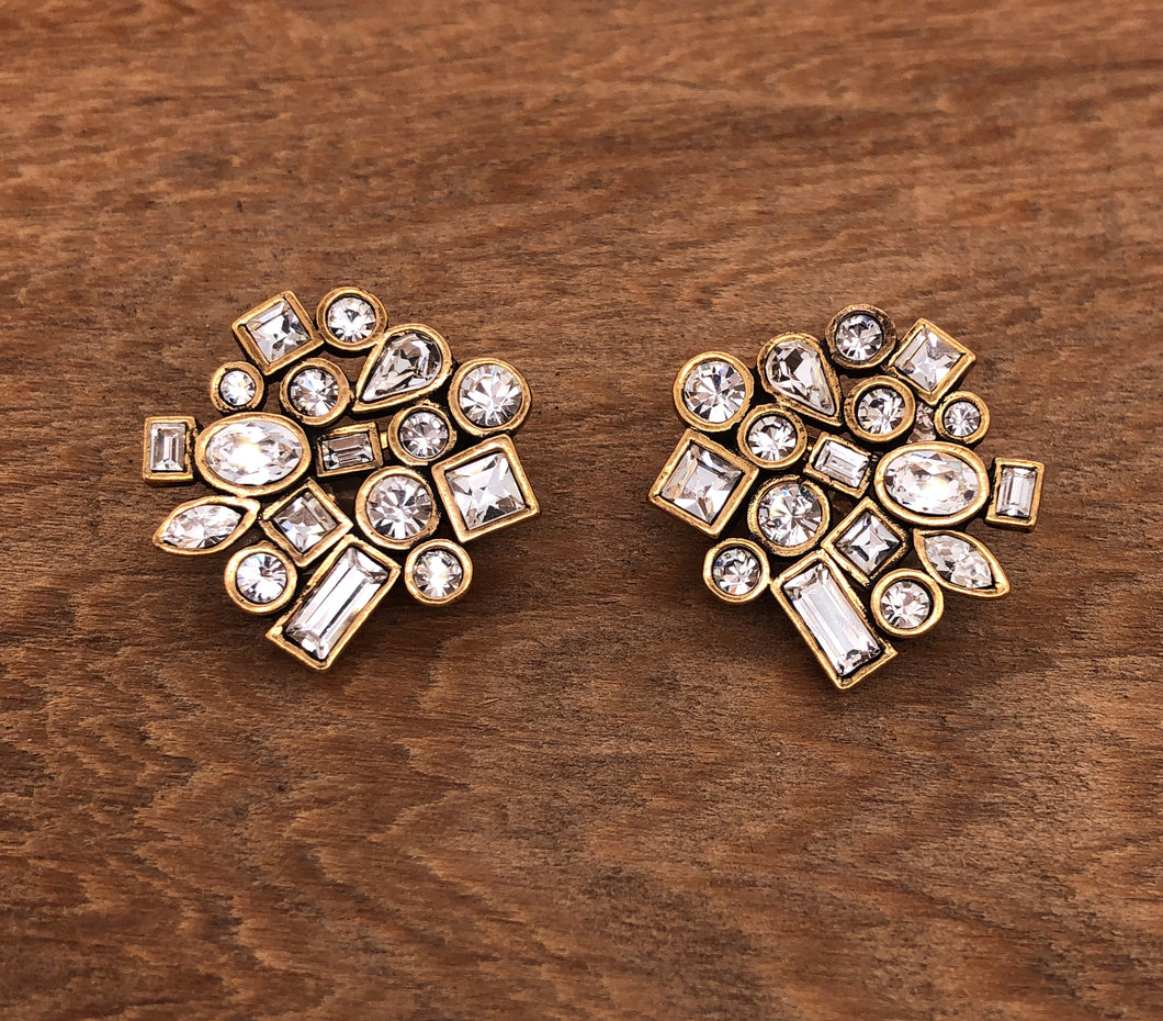 Gold Confetti Clip Earrings in All Crystal