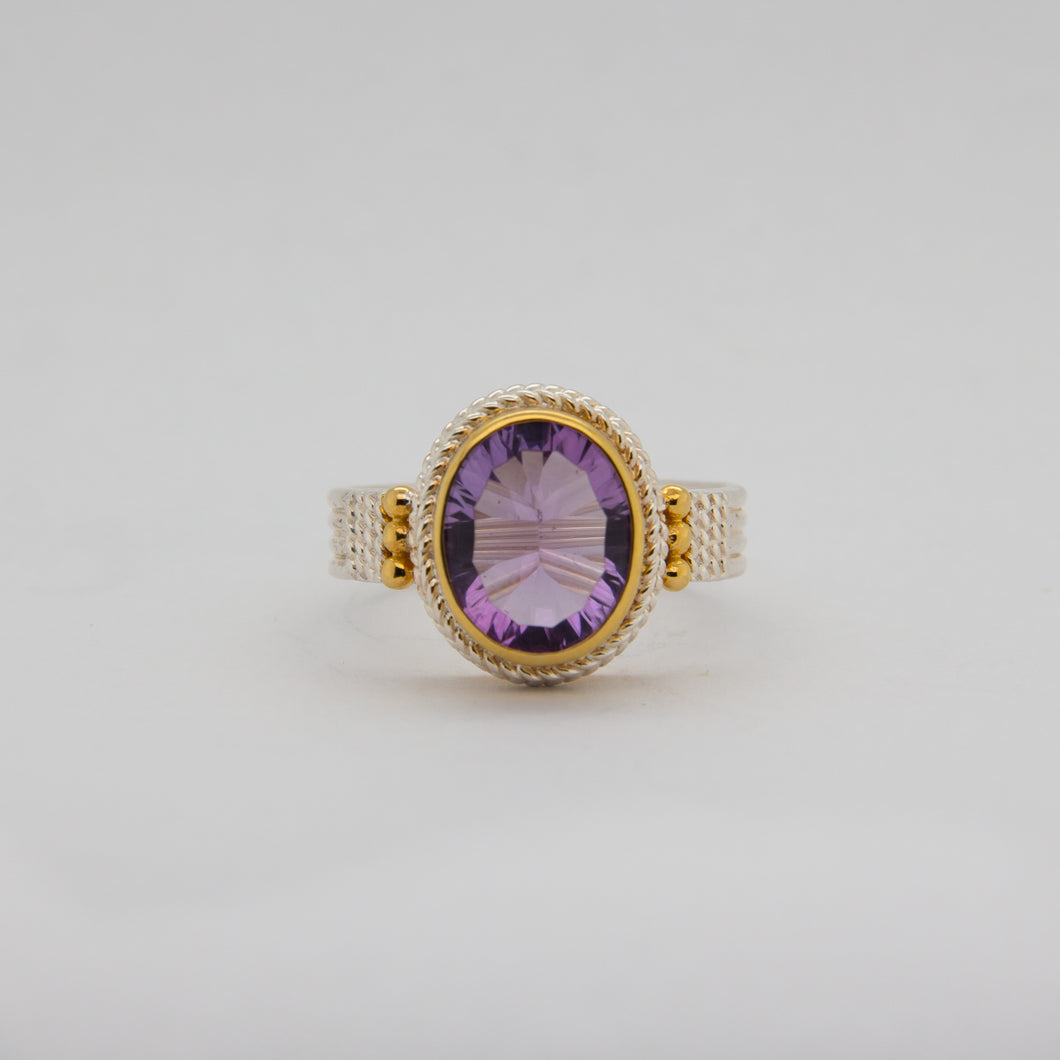 Triple Banded Amethyst Ring