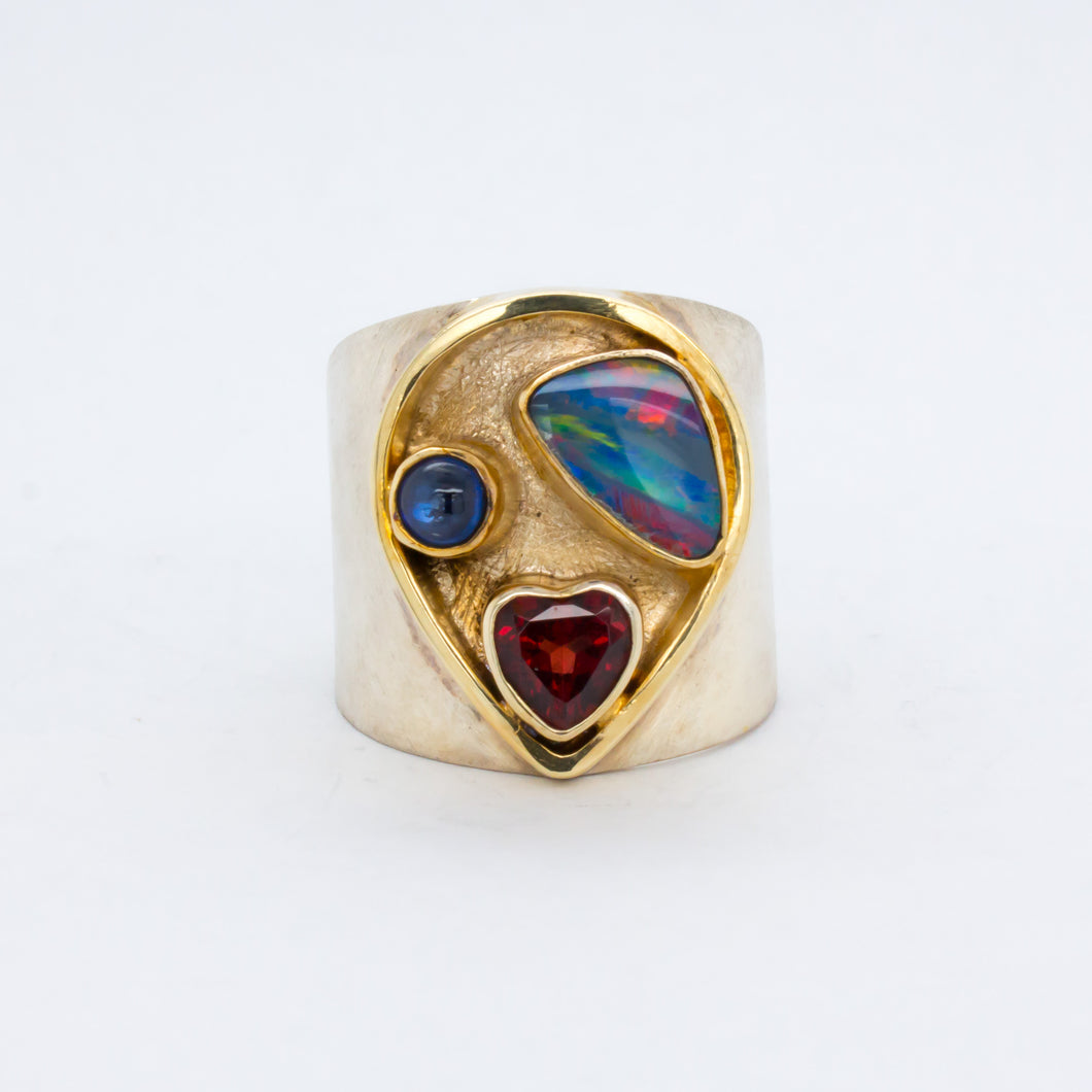 Opal, Kyanite, and Garnet Ring