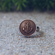 Load image into Gallery viewer, Sailor's Anchor Metal Button Ring