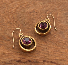 Load image into Gallery viewer, Gold Skeeball Earrings in Amethyst