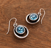 Load image into Gallery viewer, Silver Skeeball Earrings in Aquamarine