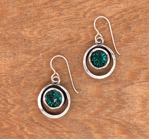 Silver Skeeball Earrings in Emerald