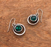 Load image into Gallery viewer, Silver Skeeball Earrings in Emerald