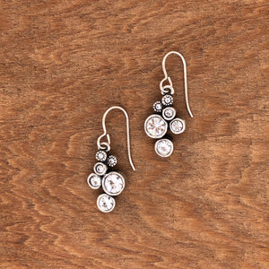 Silver Splash Earrings in All Crystal