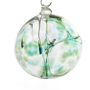 Witch Ball Silver Emerald