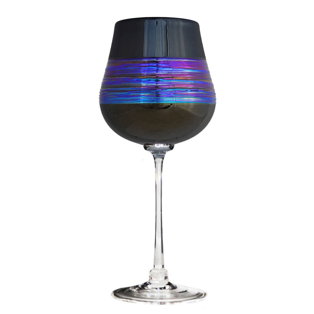 Black Rainbowspun Wine Glass