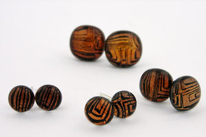 Lined Copper/Black Post Earrings