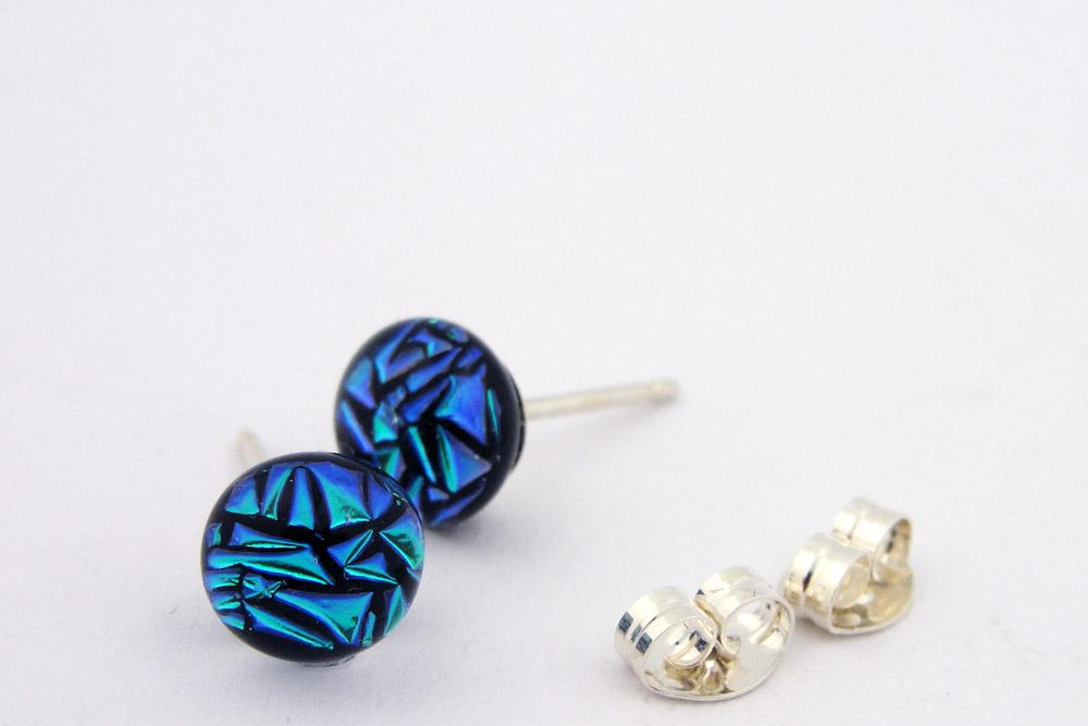 Small Blue-Green Special Dot Post Earrings