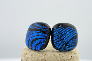 Large Blue-Black Whorl Post Earrings
