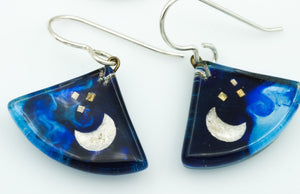 Blue Moon Fan Earrings