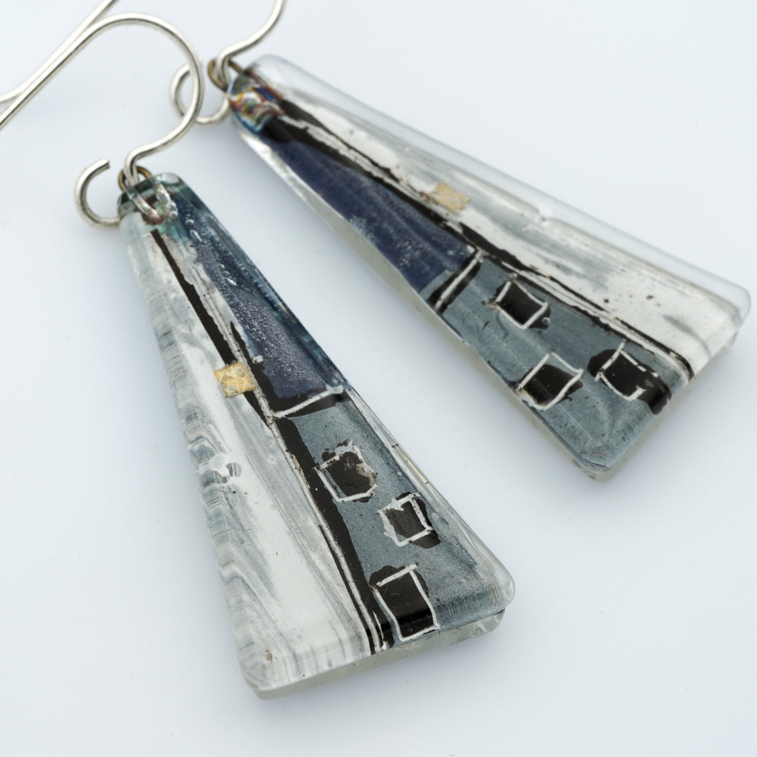 Large Grauhaus Triangle Earrings