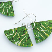Load image into Gallery viewer, Green Fibers Fan Earrings