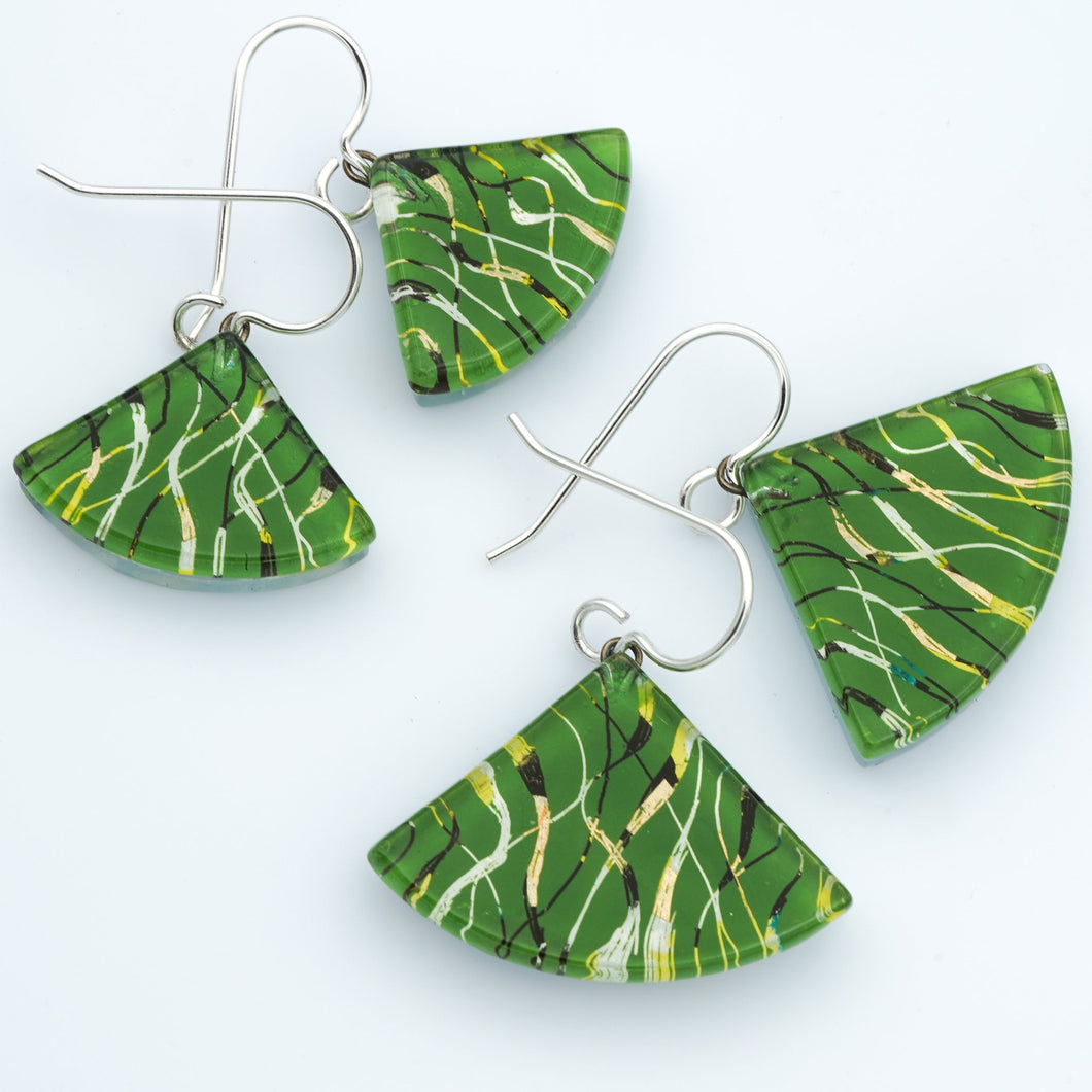 Green Fibers Fan Earrings