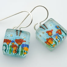 Load image into Gallery viewer, Stream Flowers Cube Earrings