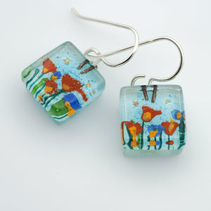 Stream Flowers Cube Earrings