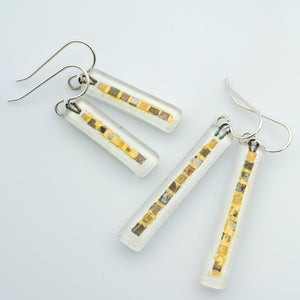 White Golden Phase Bar Earrings