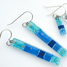 Load image into Gallery viewer, Blue Strata Bar Earrings