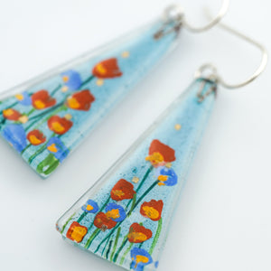 Large Stream Flowers Triangle Earrings