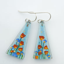 Load image into Gallery viewer, Large Stream Flowers Triangle Earrings