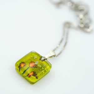 Golden Poppies Charm Necklace