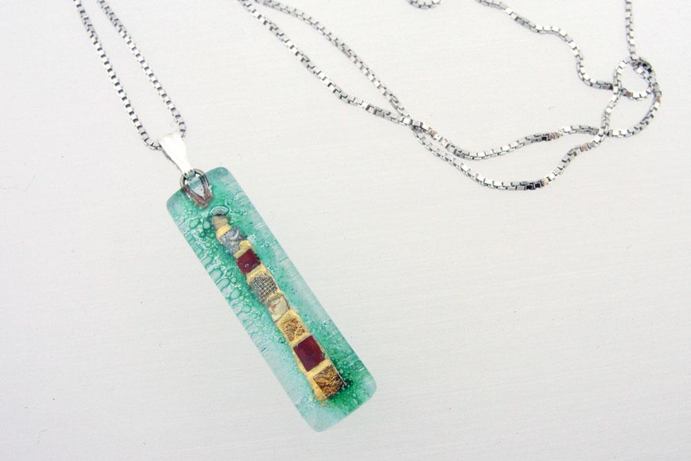 Aqua Golden Phase Charm Necklace