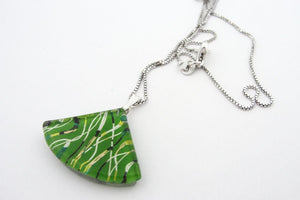 Large Green Fibers Charm Necklace
