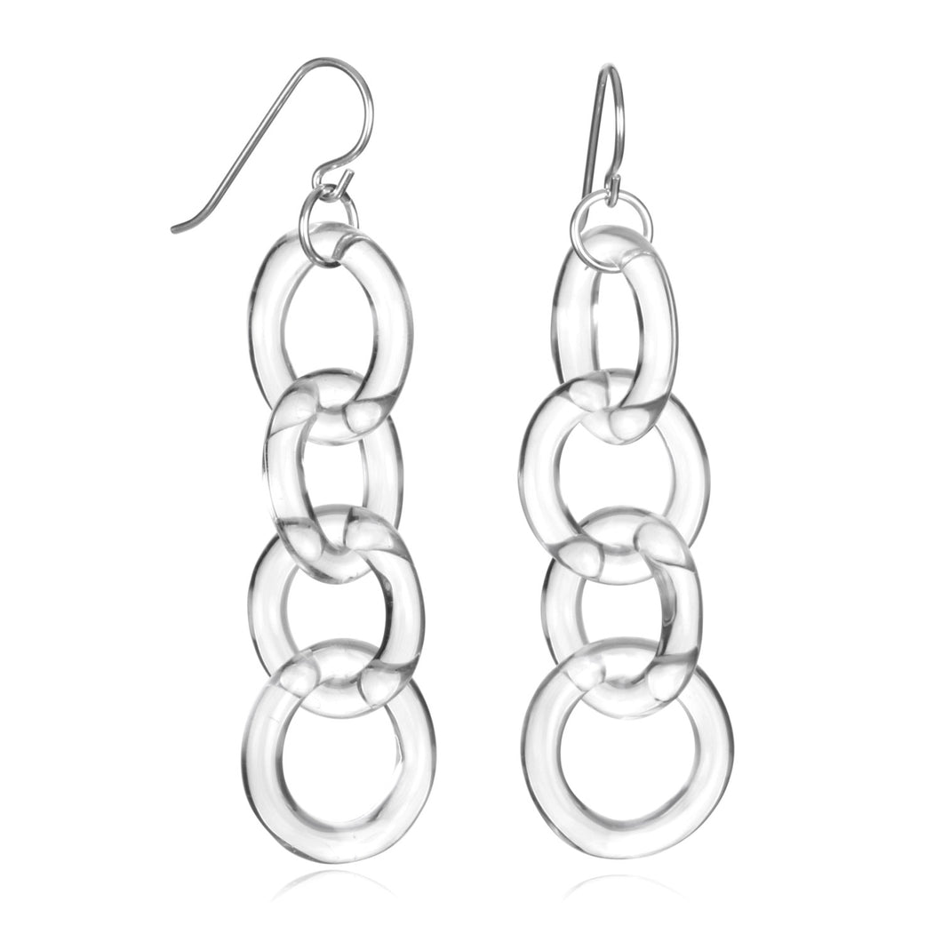 Glass Circle Chain Earrings