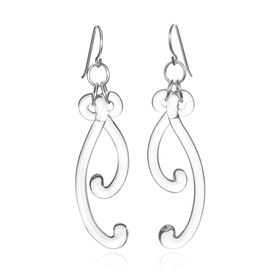 Glass Paisley Curve Earrings