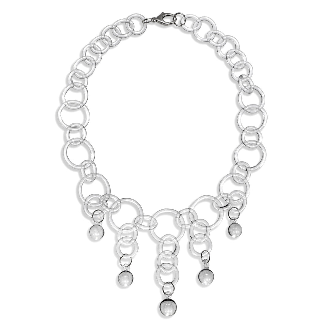 Glass Ball Drop Chain Necklace