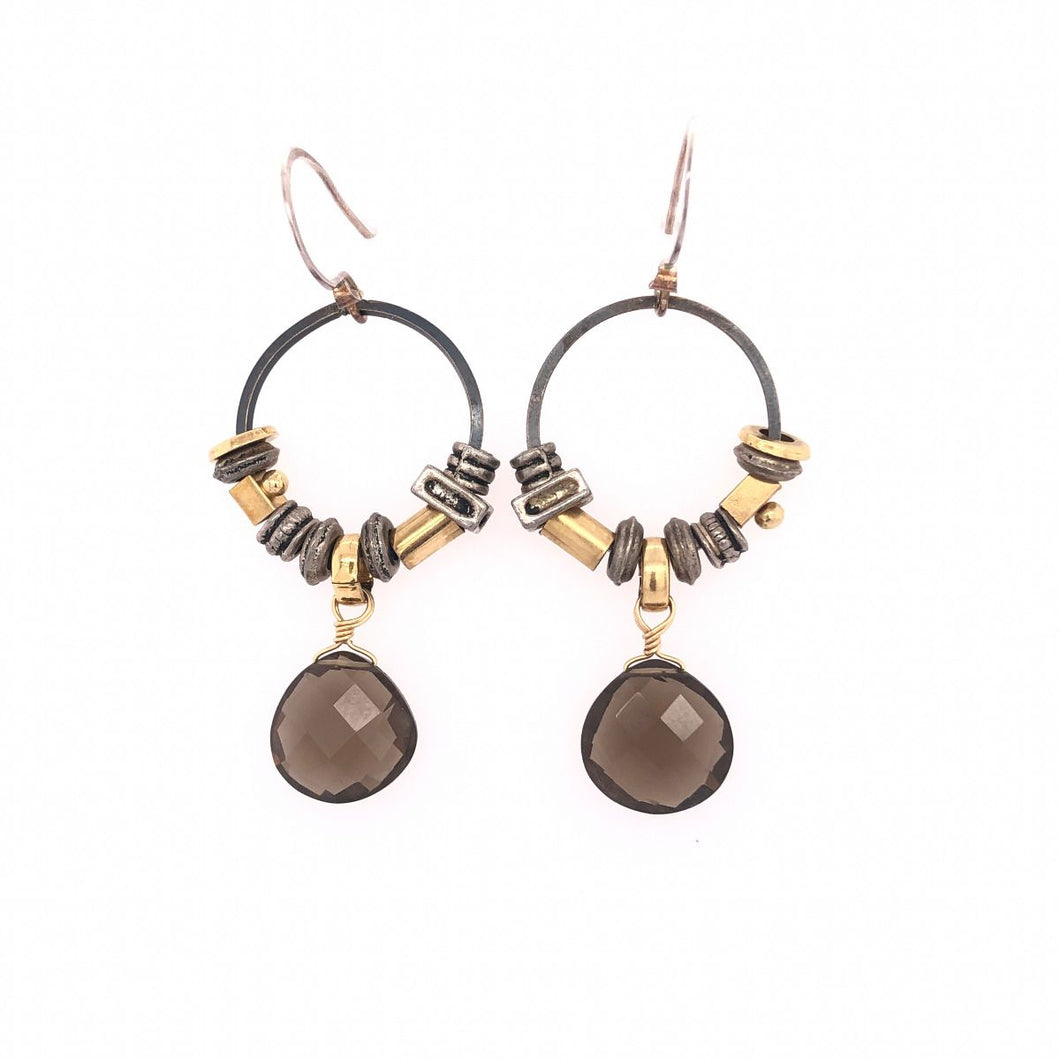 Smoky Quartz Hoop Element Earrings