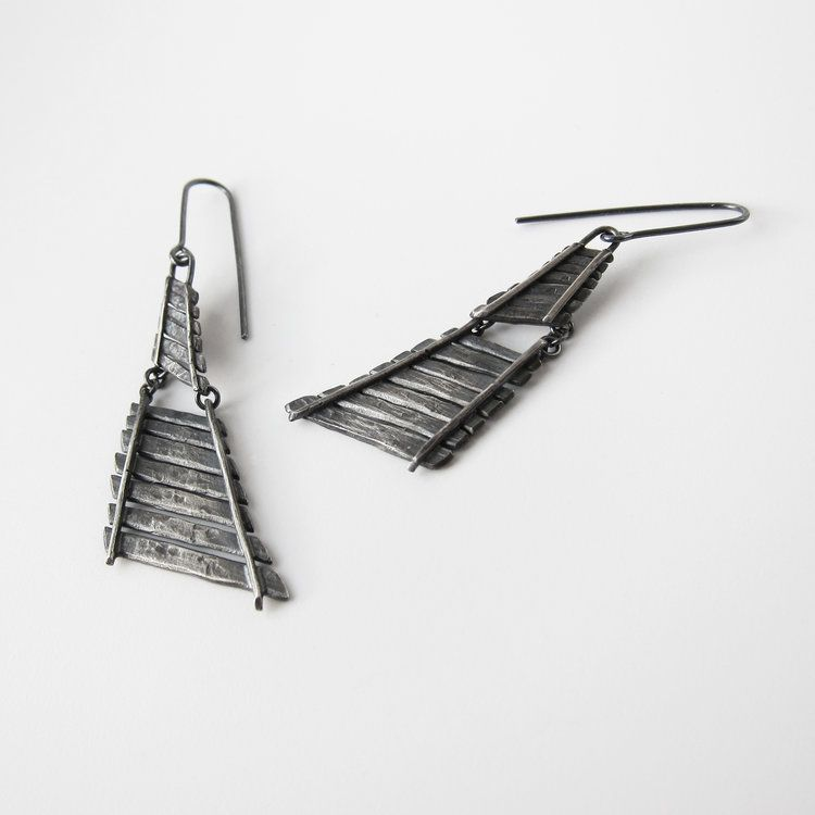 Large Railroad Dangle Earrings