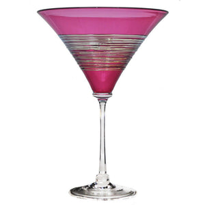 Ruby Silverspun Martini Glass