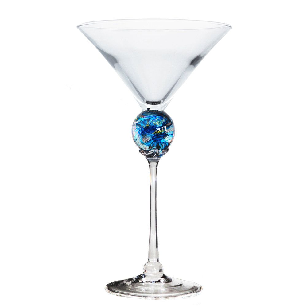 Turquoise Planet Martini Glass