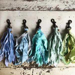 Torn Cotton Tassel Clips in shades of Blue & Green