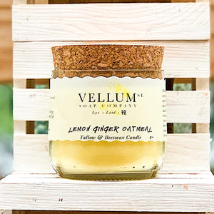 Lemon Ginger Oatmeal Tallow & Beeswax Candle - Clover Market